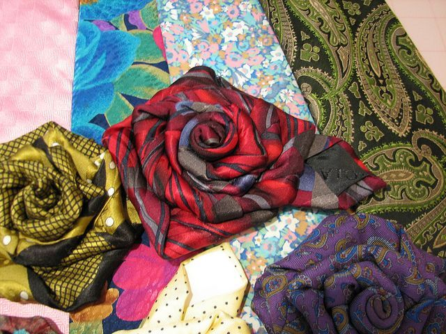 repurposed neckties | silk works best making flowers from ties | Tie One On Repurposed Ties
