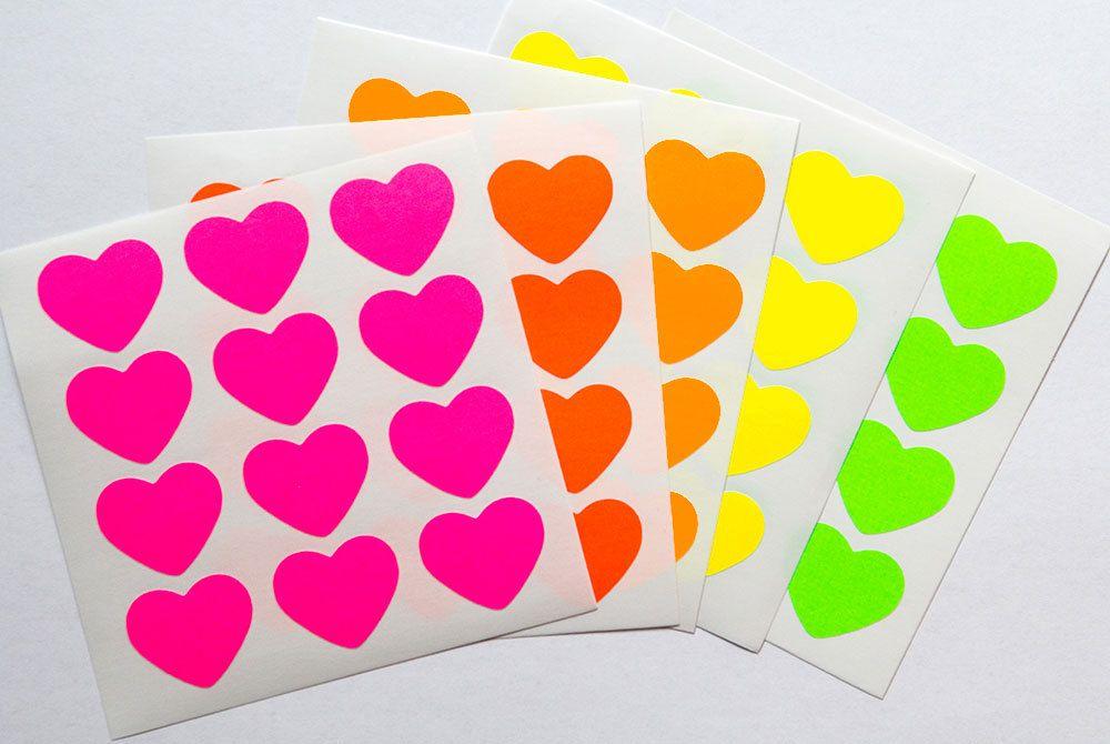 pink neon sticker heart sticker bright paper sticker letter