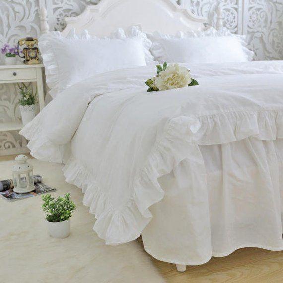 Shabby White Ruffles Quilt Duvet Cover Bedding Set Twin Full Queen