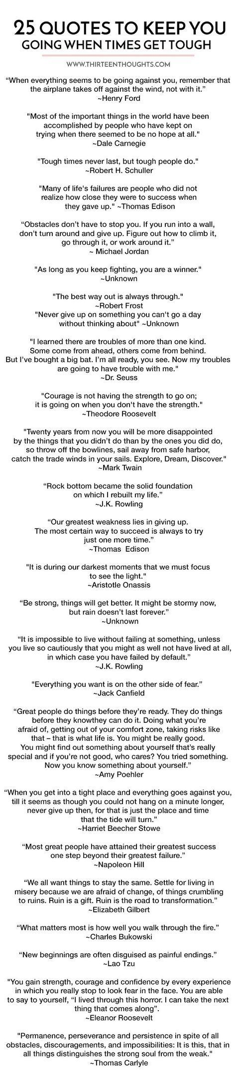 25 Quotes To Keep You Going When Times Get Tough Printable List 25th Quotes Wise