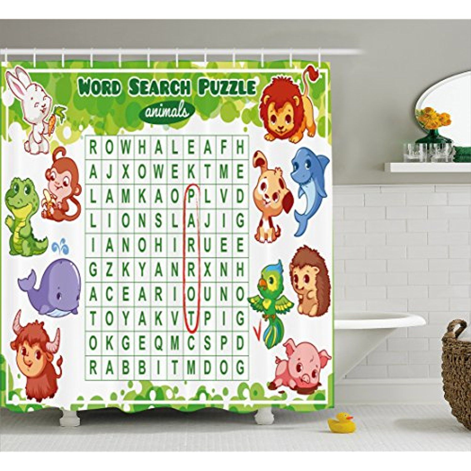 Word Search Puzzle Shower Curtain By Ambesonne