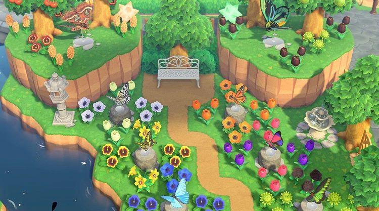 Acnh Designs Layouts On Instagram Loving This Butterfly Garden Near The Water What S In 2020 Animal Crossing Animal Crossing Wild World Animal Crossing Game