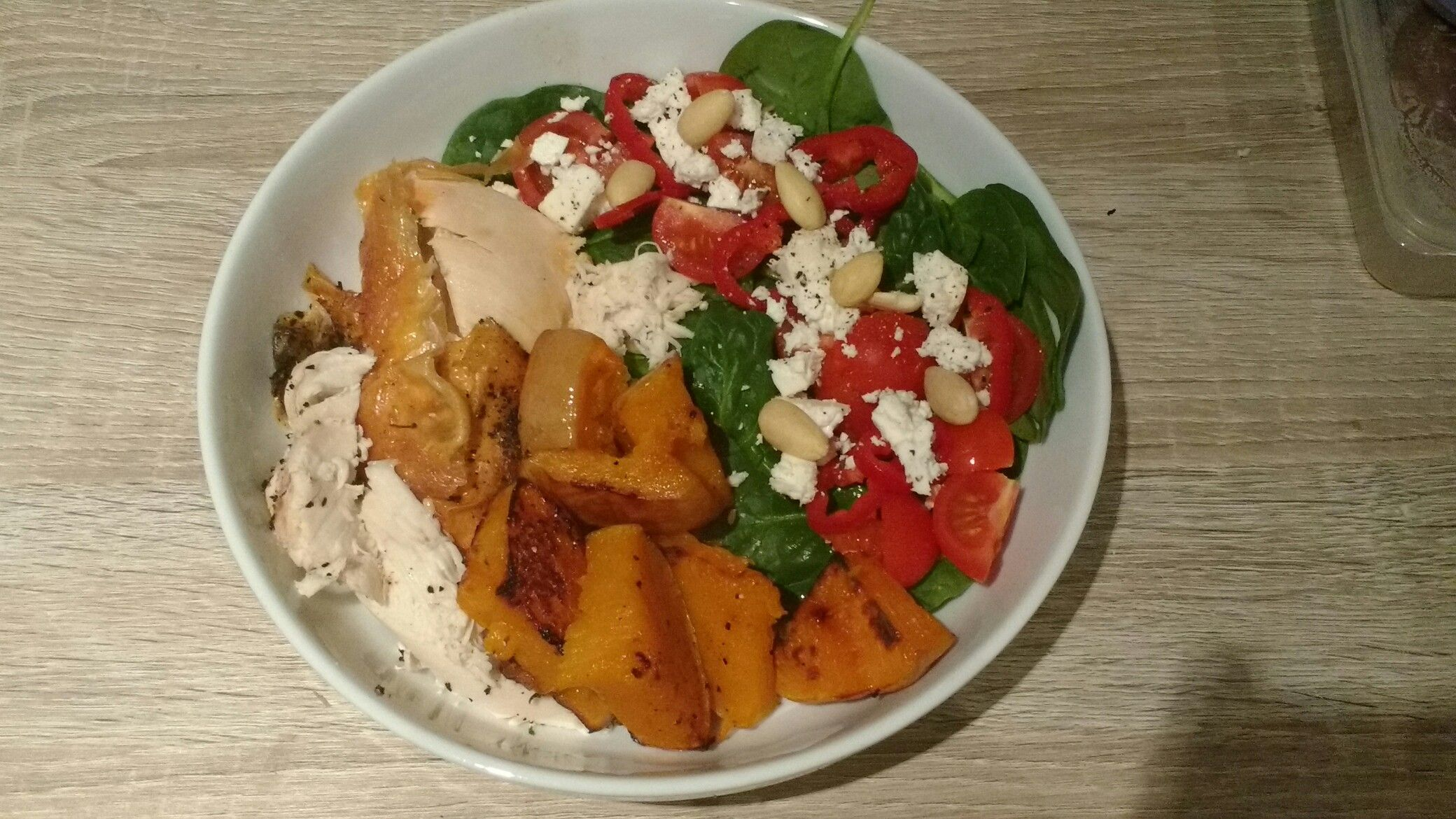 Protein filled post yoga dinner of chicken, roasted butternut squash and salad topped with feta & almonds #organic #protein #free-range #conscious #eating #healthy #meal