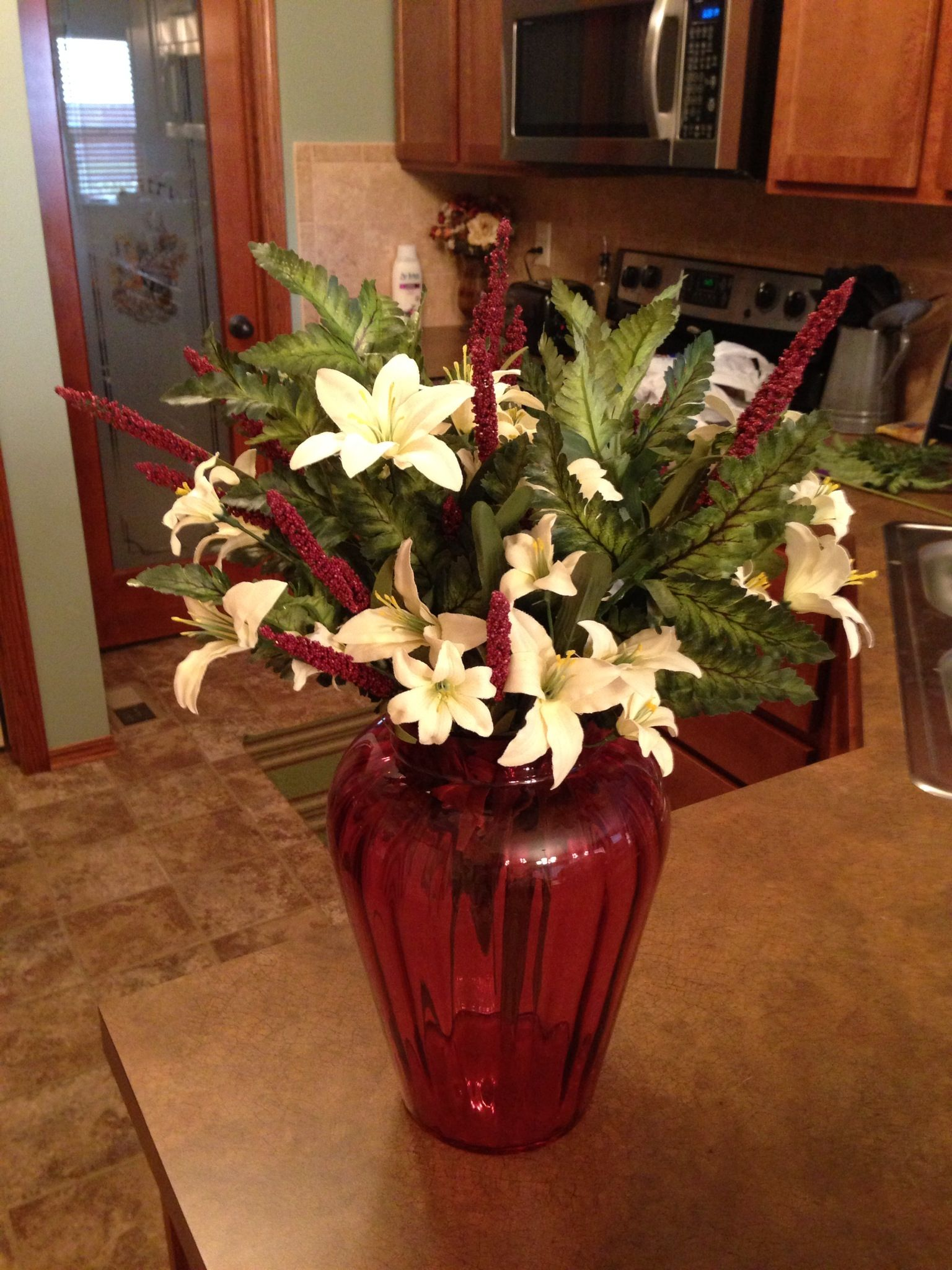 Diy Floral Arrangement With Artificial Flowers In Antique Cranberry