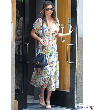 Miranda Kerr in an great girly floral for any hot summer day #thefrisky .com