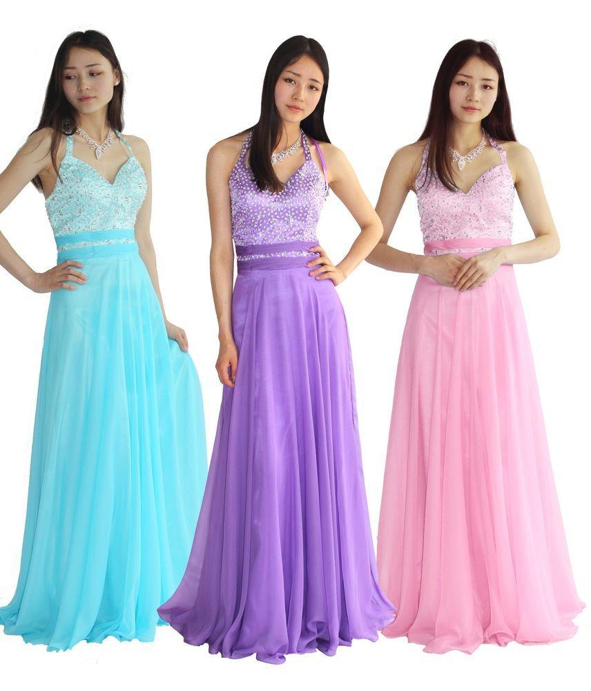 FairOnly Women\'s Halterneck Formal Evening Prom Dress Stock Size 6 8 ...