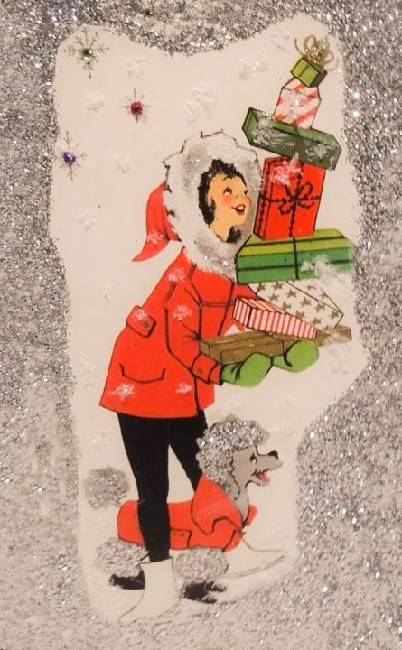 1950 s christmas card hand crafted door hanger ornament glittered