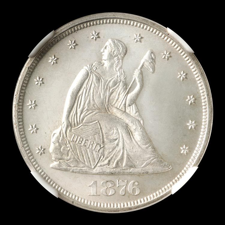 1876 Twenty Cent Piece. Beautiful Mint State. Silver