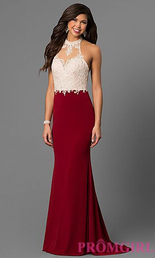04bd08b0fda High Neck Sleeveless Long Halter Prom Dress at PromGirl.com