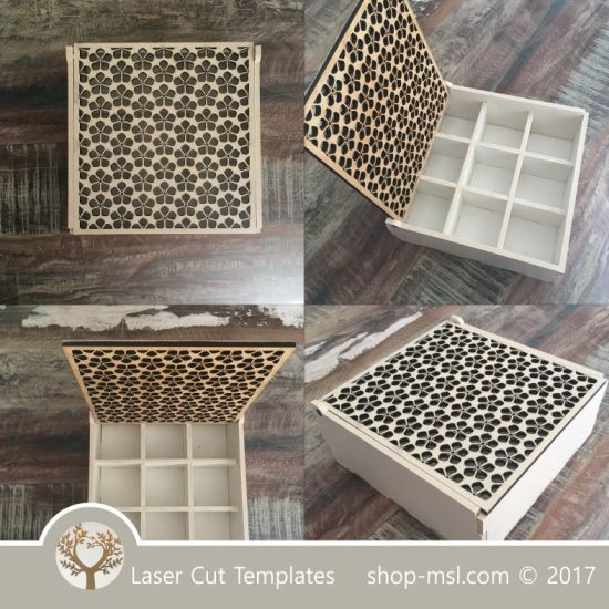 Wooden box template with dividers for laser cut and engrave. Buy ...