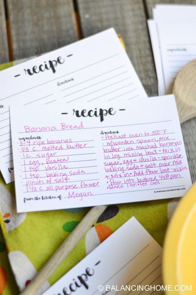 printable recipe card free printables pinterest recipe