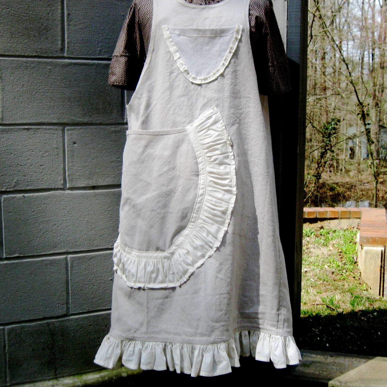 White tudor apron - Full Coverage Apron Large Pocket Apron Crafter Apron Folkwear Apron Tudor Style