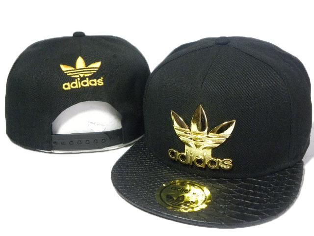Mens Adidas The Adidas Original Gold Metal Logo Novelty Faux Croco Leather  Visor Snapback Cap - Black 30eae20982f