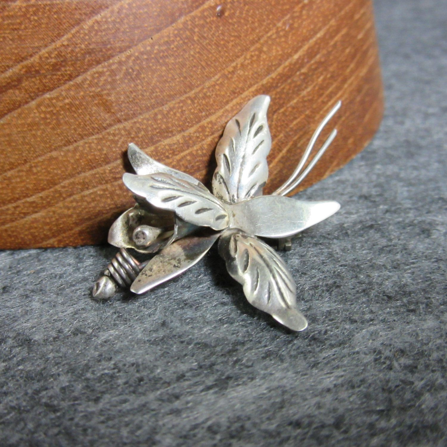 Vintage, Sterling Silver, Orchid Pin, Taxco, Mexico, 925, silver, 3d, mid century, flower, brooch by BonfireStudio on Etsy