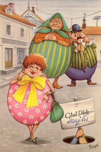 Antique Easter postcard....Scandinavian....funny egg people.