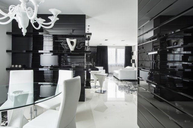 déco-moderne-noir-blanc-salon-salle-manger-canapé-blanc Salon