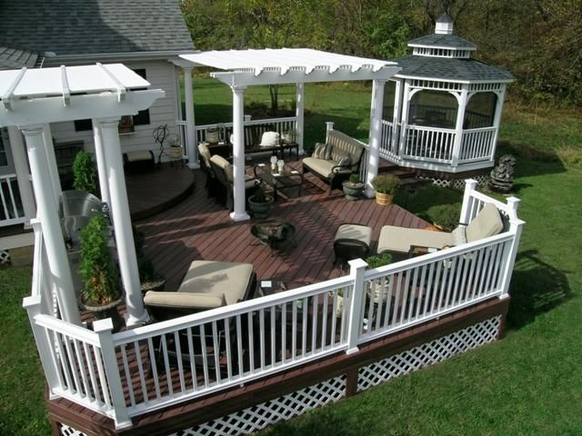 Fiberon composite deck with vinyl pergolas and vinyl gazebo