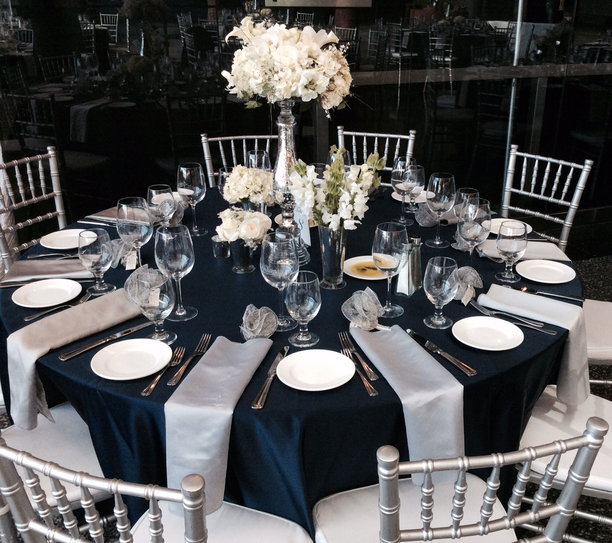 Wedding Reception Guest Table Flower Centerpieces Navy Blue Silver White