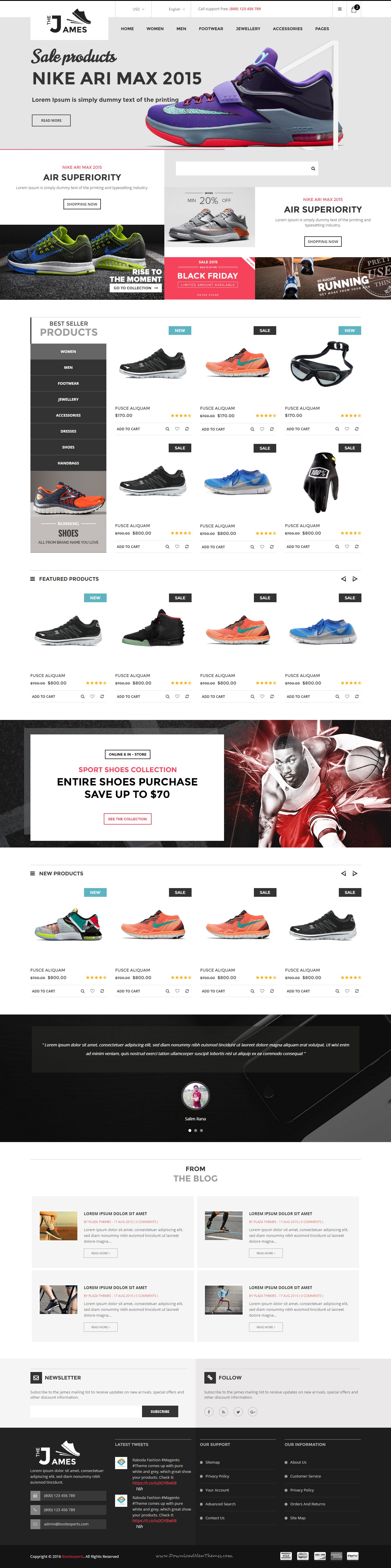 James - Responsive Bootstrap Shoes Store Template | Template