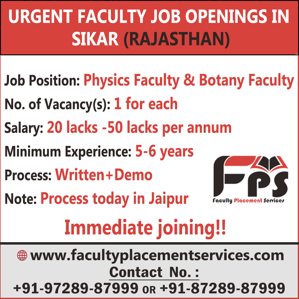 Urgent Faculty Job Openings in Jaipur (Rajasthan) Job Position