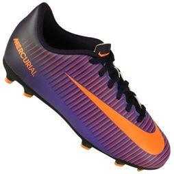 08d2a147cc Chuteira Campo Nike Mercurial Vortex III Fg Juvenil - Roxo+Laranja ...
