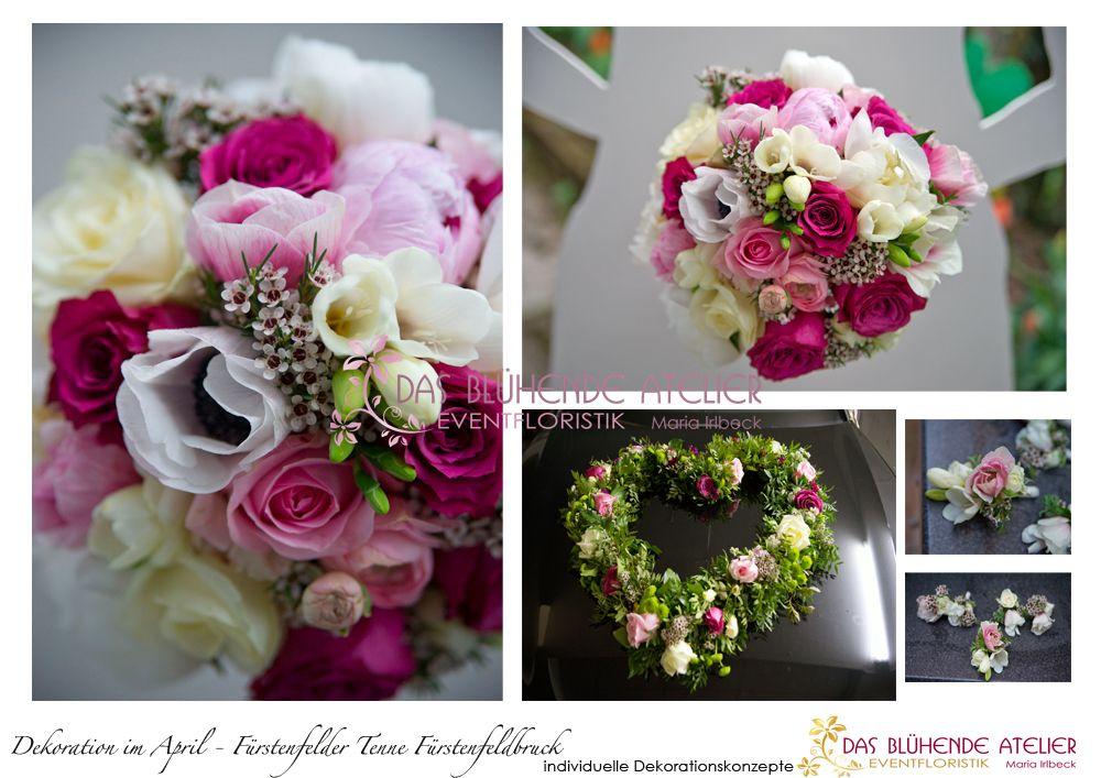 Konzept Im April Hochzeit In Brombeer Creme Rosa Hellgrun Tenne Furstenfelder Fruhlingshaft Das Brautstrausse Autoschmuck Hochzeit Blumenschmuck Hochzeit