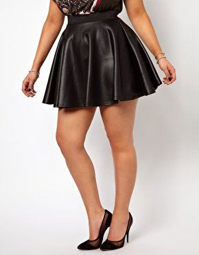 new look inspire wet look plus size skater skirt | plus size