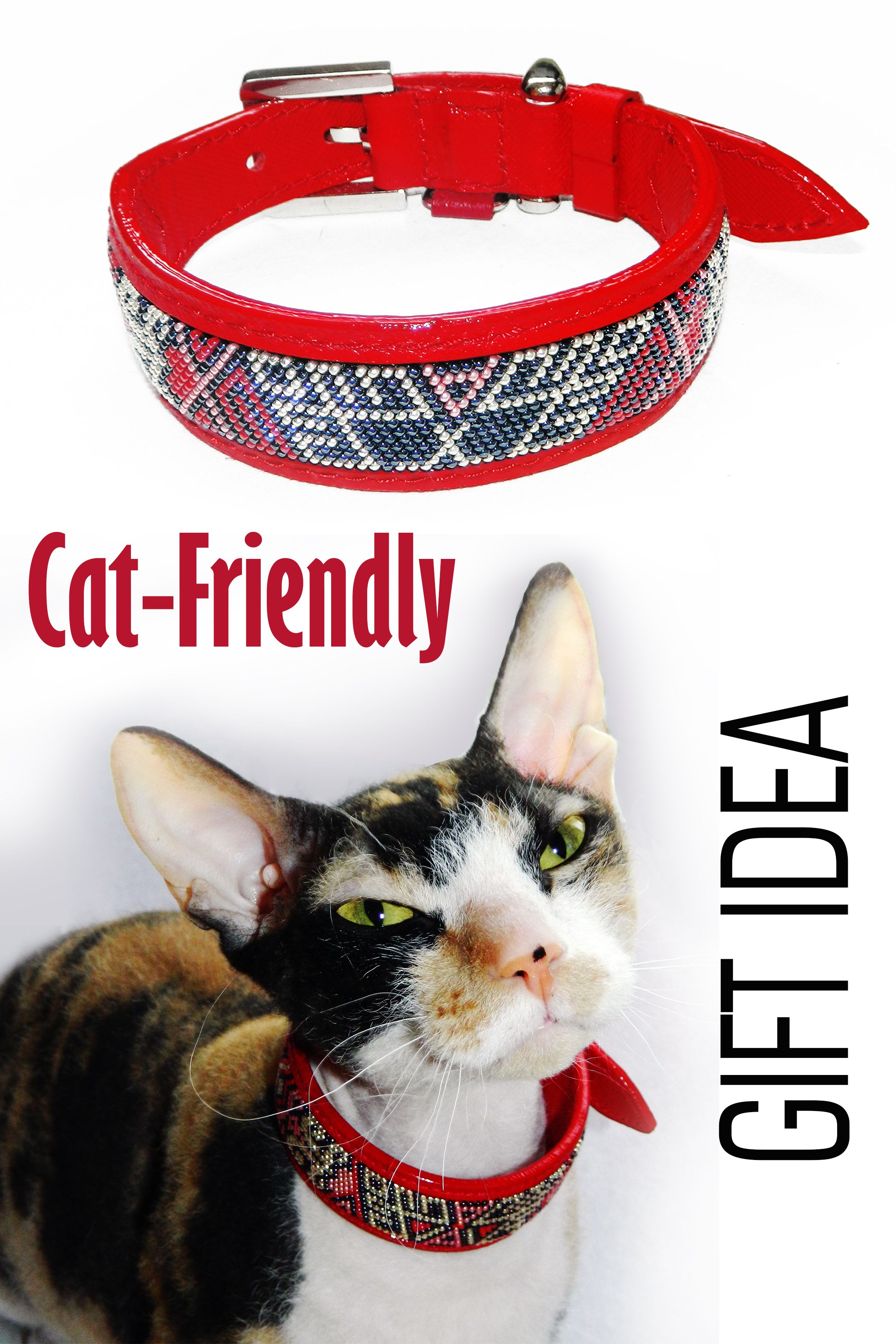 Leather Cat Collar With Knitted Slavic Beaded Ornaments In 2020 Leather Cat Collars Fancy Cat Collar Leather Dog Collars