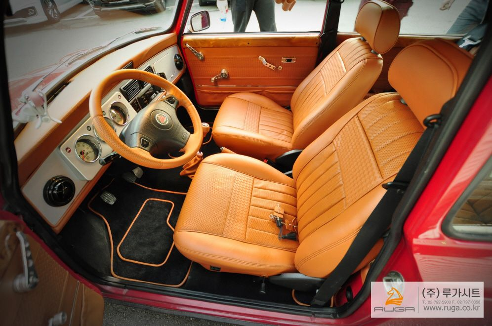 rover mini cooper red with black and camel brown or orange interior herringbone weave custom stitch grey dash