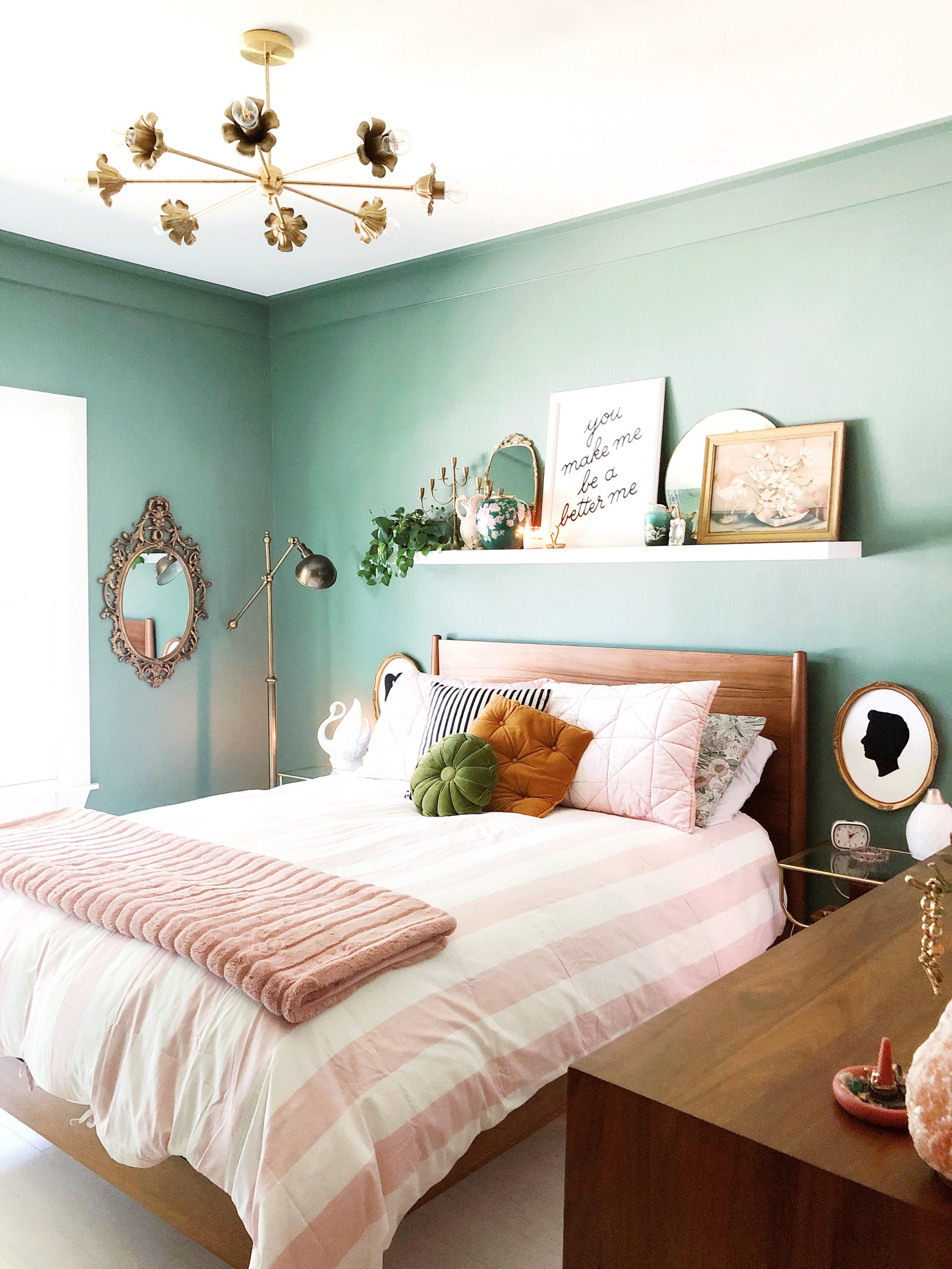 Pink And Green Bedroom Decor This Room Blends Midcentury Modern
