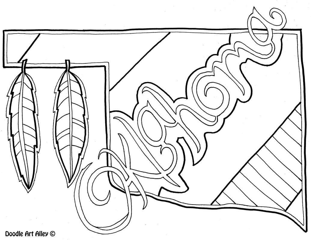 Oklahoma Coloring Page By Doodle Art Alley Coloring Pages