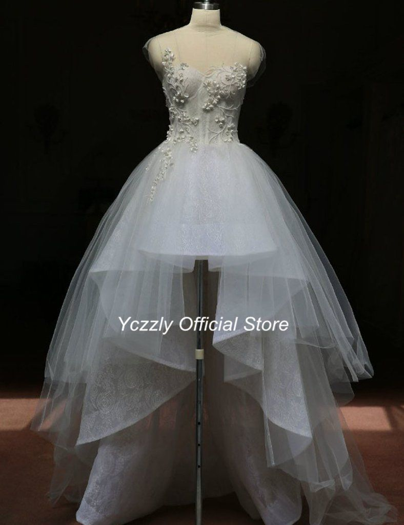 High low lace beaded beach wedding dress with train prom bitch