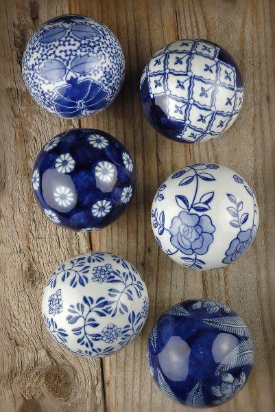Blue and white porcelain balls