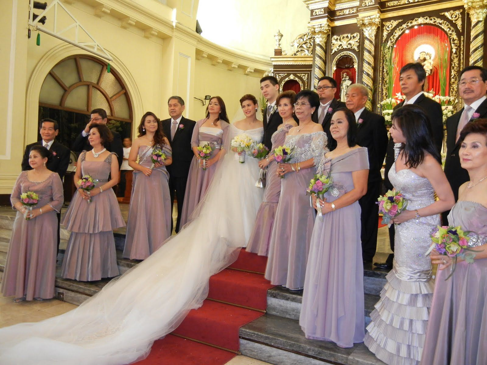 Principal Wedding Sponsor Gowns: Filipino Church Wedding Party Pictures