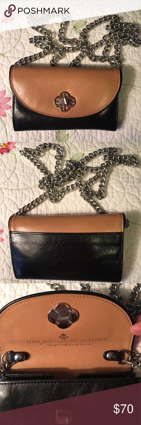 Brighton-My Flat in London Cross-Body Beautiful tan and black, no scratches, no marks, silver chain, perfect for several cards and a cell phone (6S Plus does not fit), comes with dust bag Brighton My Flat in London Bags Crossbody Bags