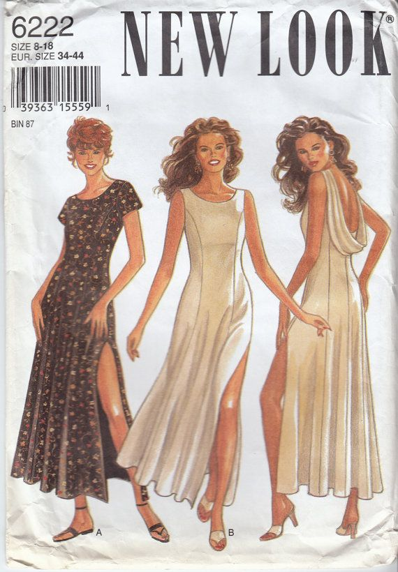 Open Back Dress Sewing Pattern Thigh High Side Slit Evening Gown ... 4ae62b80a