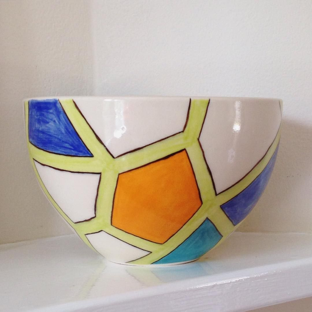 wheel thrown and hand painted stoneware by my talented husband Dominic