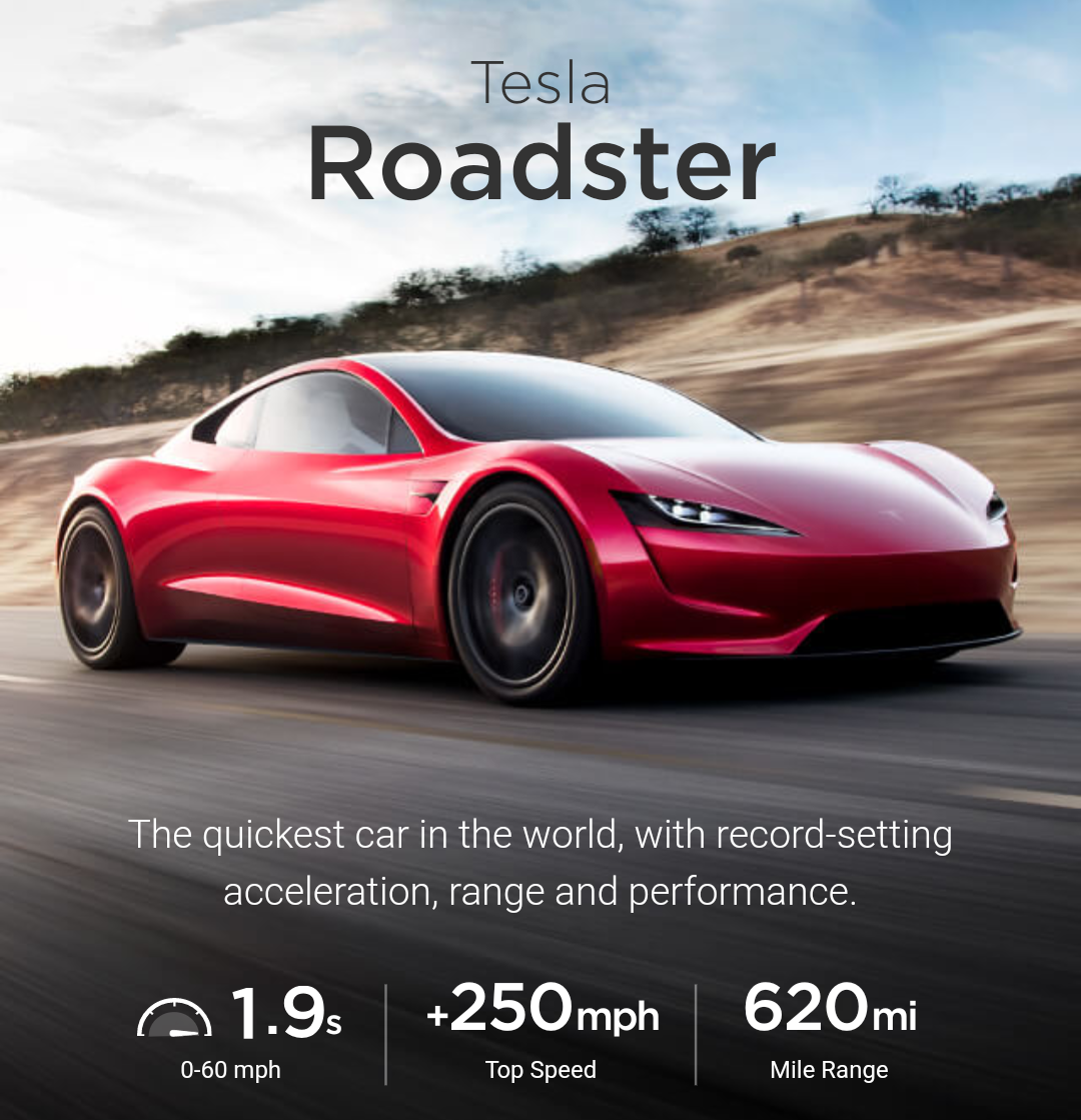 New Supercars: Tesla Roadster, New Tesla