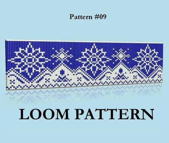 Seed Bead Loom Pattern #9 - Snowflakes Ornament Beaded Bracelet Pattern - Crystal and Cobalt Color Loom Stitch Bead Pattern