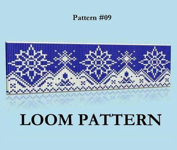 Seed Bead Loom Pattern #9 - Snowflakes Ornament Beaded Bracelet Pattern - Crystal and Cobalt Color Loom Stitch Bead Pattern