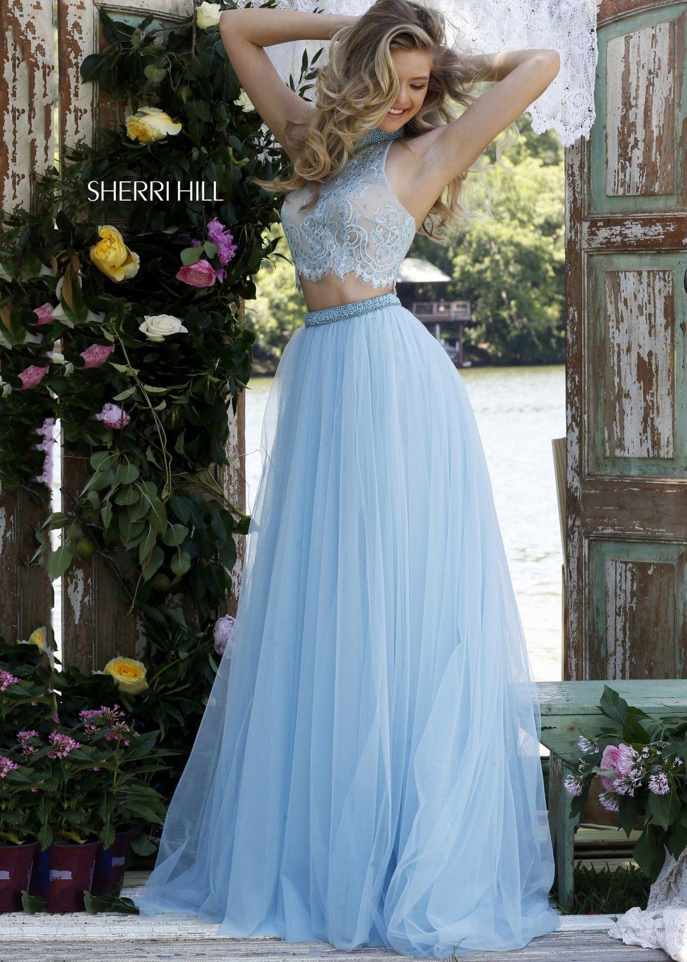 76bc4c86cdf85 Sherri Hill 32347 Light Blue Lovely Lace Crop Top 2 Piece Dress ...