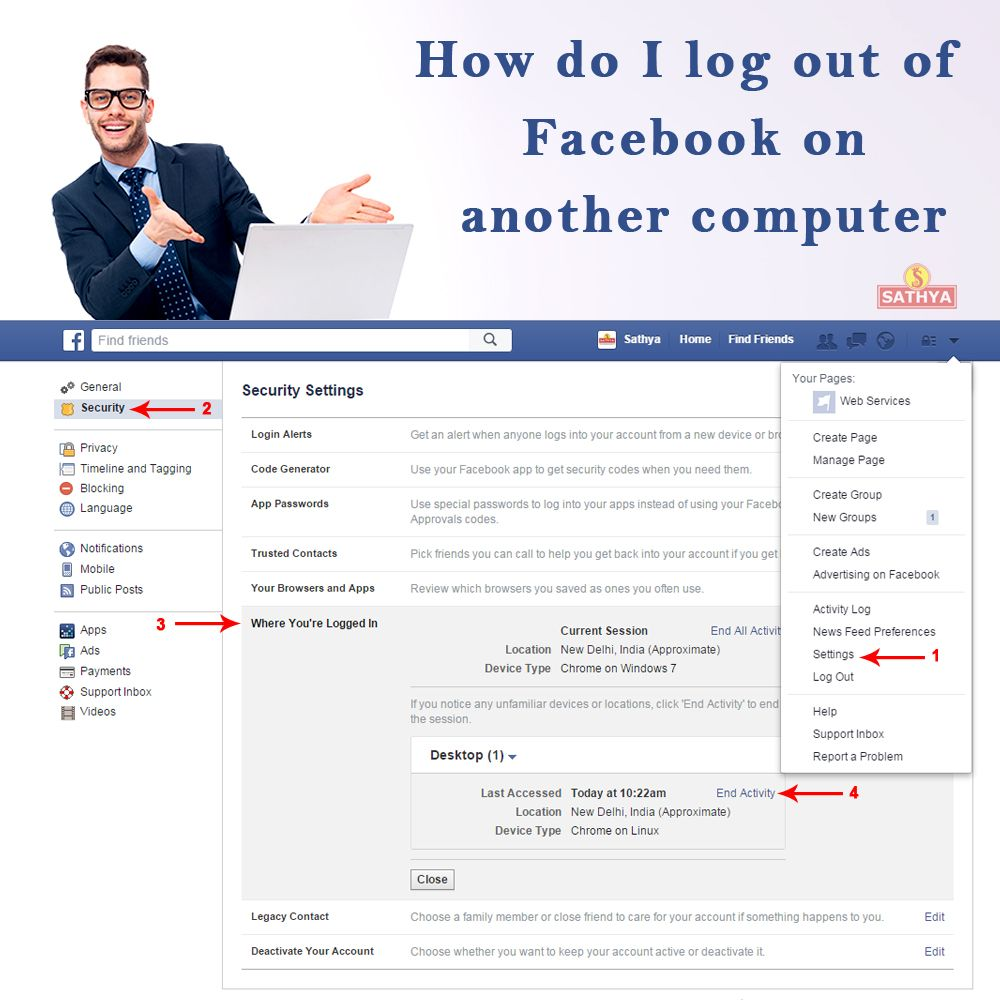 How do I log out of Facebook on another computer, phone or