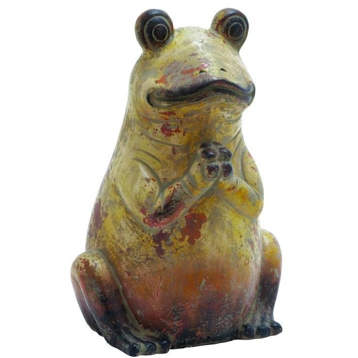 Features:  -Color: Yellow, red and dark brown.  -Distressed paint finish.  -Amazing animals.  -Material: Ceramic.  Product Type: -Sculpture.  Style: -Country/Cottage.  Theme: -Animal.  Subject: -Repti