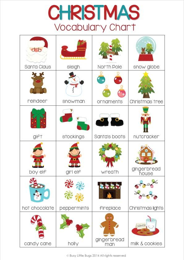 Christmas Flash Cards Cards, English and Language - vocab cards