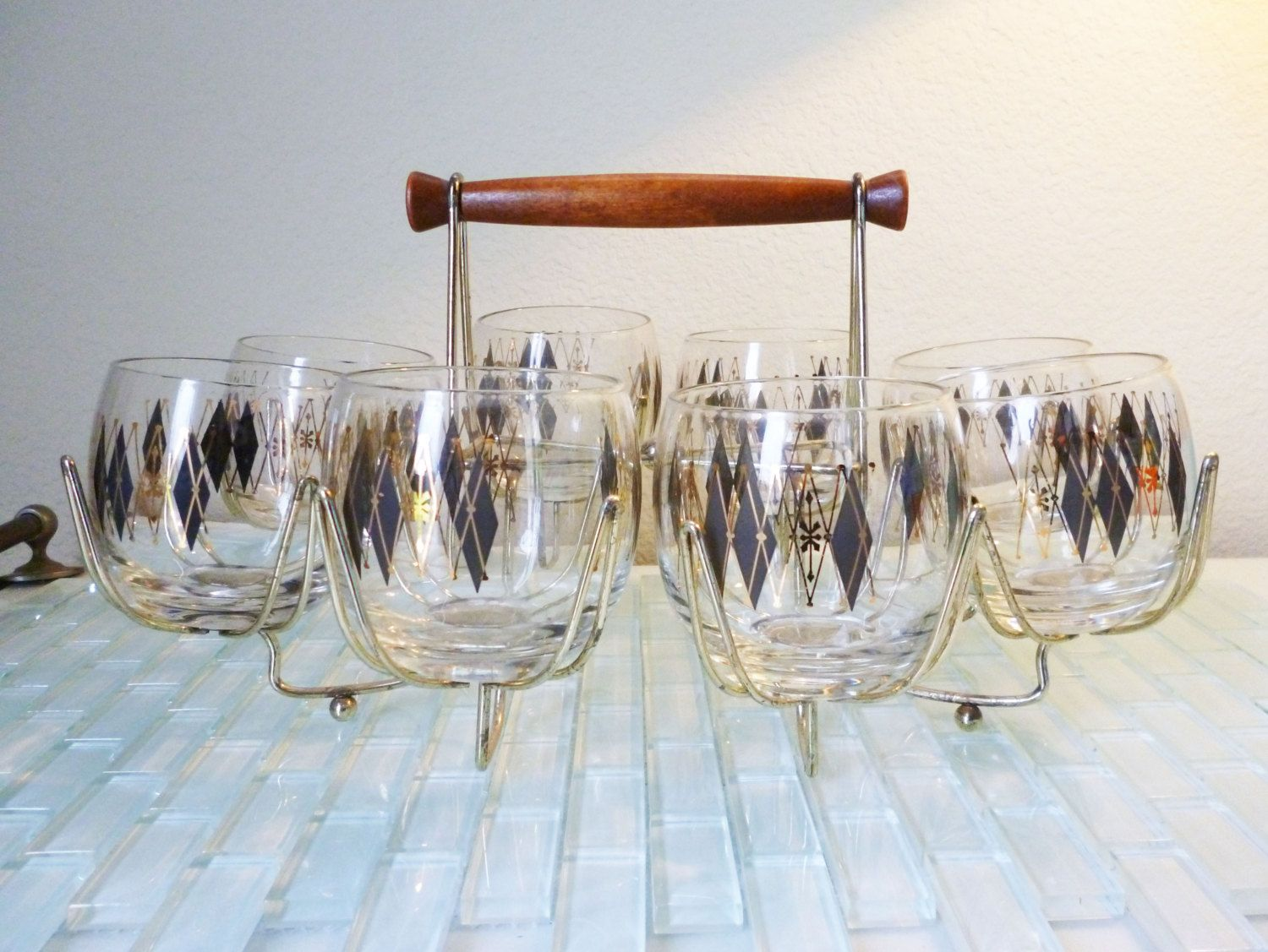Vintage Mod Atomic Federal Barware Set 8 Glasses With Caddy Diamonds Black  Gold Mad Men Roly