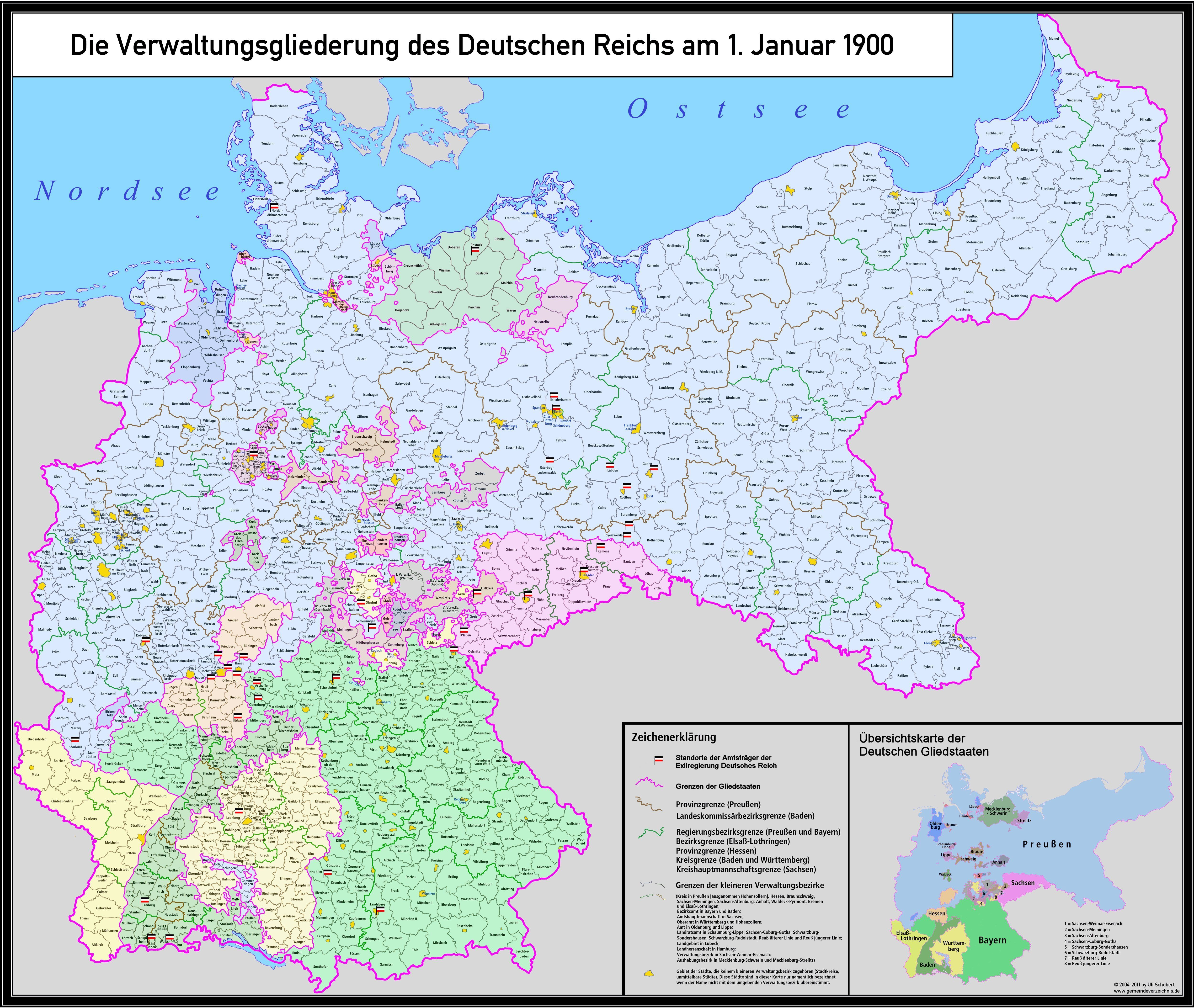 Detailed Administrative Division Of The German Empire MAPS - Germany map detailed