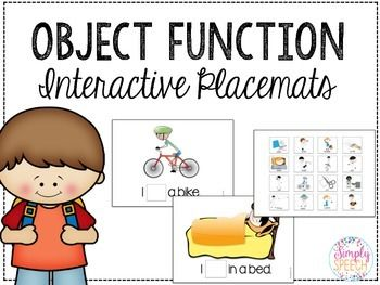 I created this packet for my younger students that needed a hands-on and engaging way to target object functions. I personally use these placemats to target functions as well as sentence imitation.How to use:1. Print and laminate all pages.2. There are two copies of the action/function cards (pages 3 & 4) Cut out the squares on one page, and leave the other page as a base page (attach Velcro and keep the action/function cards organized)3.