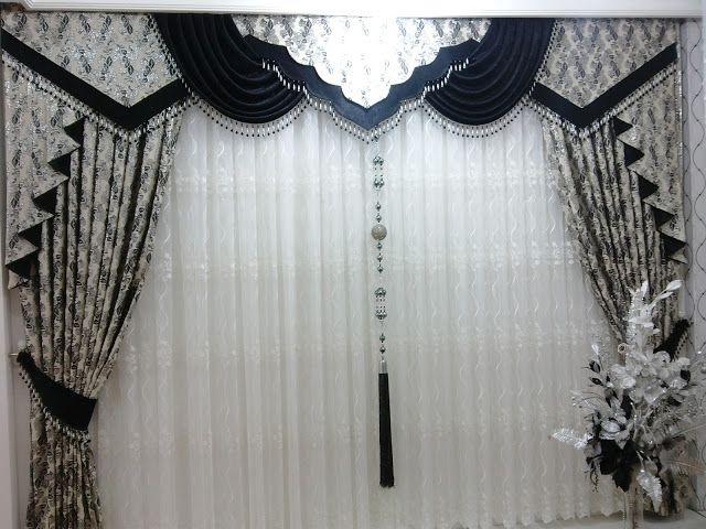 Siyah Gümüş Krem Fon Perde Modeli ~ Elif Perde