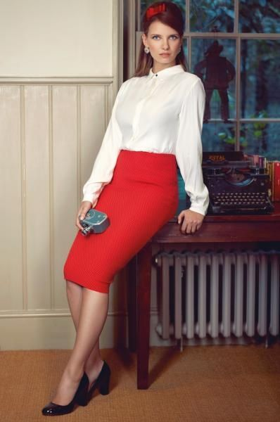 f4c0baf10b Red Pencil Skirt White Satin Blouse and Black High Heels | Things to ...