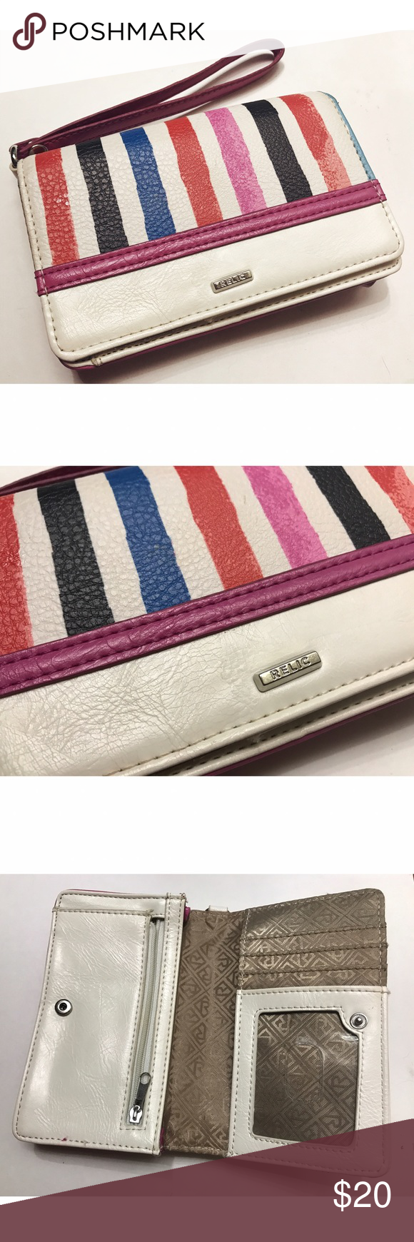 Relic • Striped Wallet Relic • Striped Wallet. Cute detailing and a little wristlet to carry it. In great condition. Relic Bags Wallets